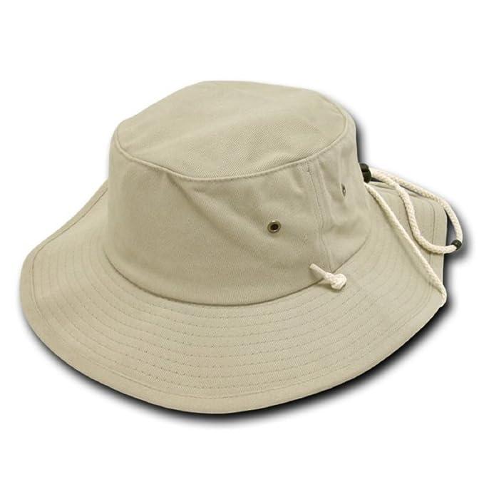 Decky Aussie Australian Style Outback Drawstring Bucket Hat (Khaki ... cbe9cd95d6b