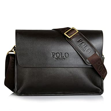 33e287899333 POLO FEILUN Men s Genuine Leather Shoulder Bag Messenger Crossbody Bags  Briefcase Business Composite Leather Classic Casual