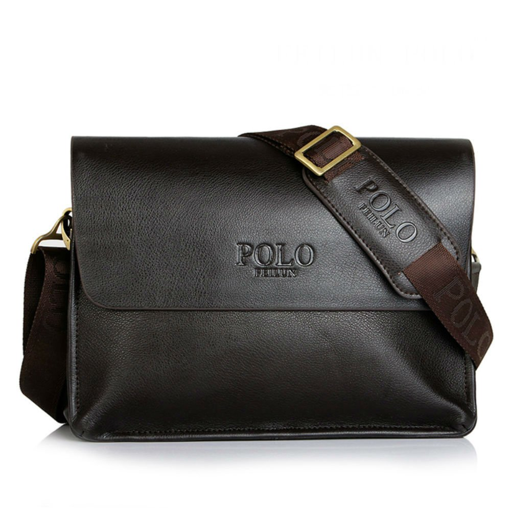 POLO FEILUN Men's Genuine Leather Shoulder Bag Messenger Crossbody Bags Briefcase Business Composite Leather Classic Casual Bag 12''(L)x9.4''(H) x 2.7''(W)(Brown)