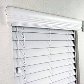 Amazoncom 2 FAUX WOOD BLINDS IN WHITE WITH PREMIUM UPGRADED
