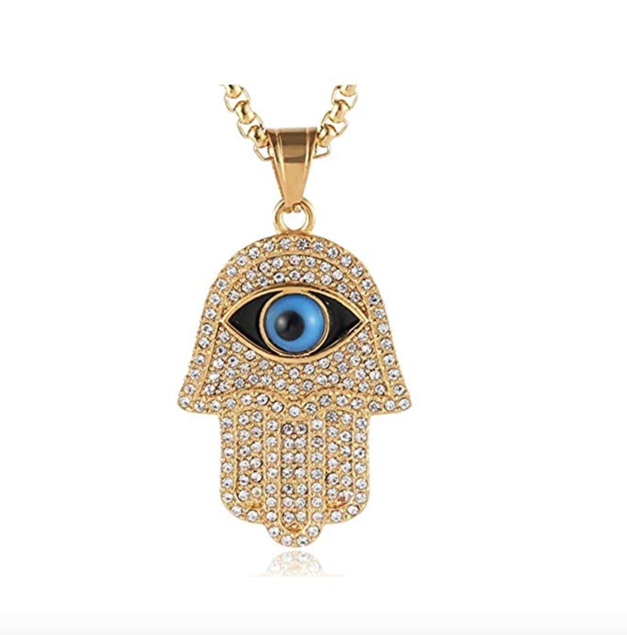 24K GP Necklace. Islamic Muslim Gold Color Chain. Hand of Fatima Necklace. Hamsa Hand Chain. Kevin Gates Hip Hop Jewelry .24in