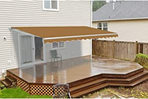 ALEKO Retractable Motorized Patio Awning, 10' by 8', Sand