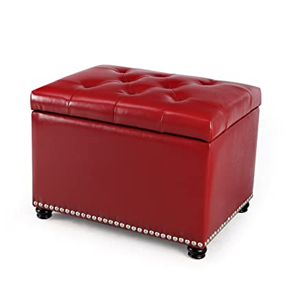 Delicieux DecentHome Leather Rectangular Storage Bench Ottoman Footstool (Red)