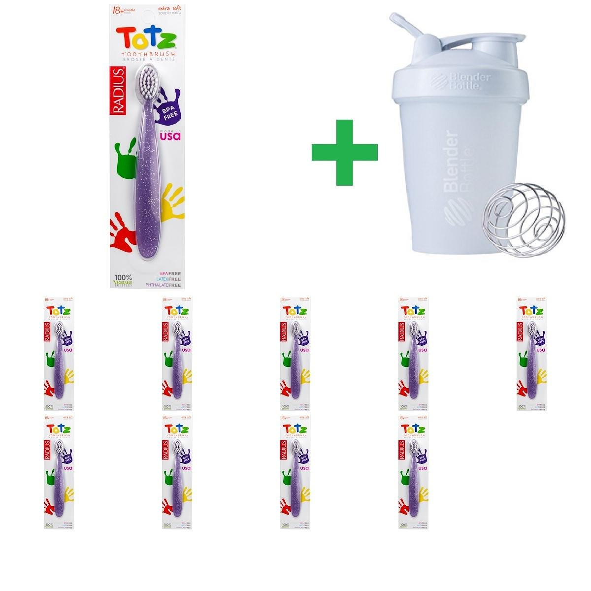 RADIUS, Totz Toothbrush, 18+ Months, Extra Soft, Purple Sparkle(10 Packs)+ Assorted Sundesa, BlenderBottle, Classic With Loop, 20 oz
