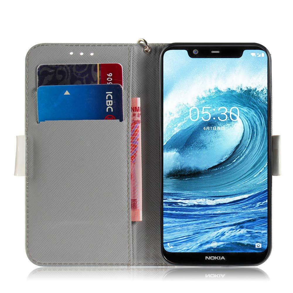 Nokia 5.1 Plus 2018 Gradient Colorful YX. COTDINFOR pour Nokia 5.1 Plus Coque Protection /Él/égant 3D Effet Peint PU Portefeuille /Étui en Cuir Cover Flip Stand Shell Bumper Housse pour Nokia X5