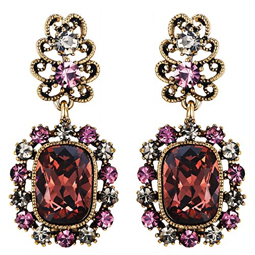 Flyonce Women's Crystal Vintage Style Royal Floral Square Chandelier Earrings Purple Anqitue Gold-Tone