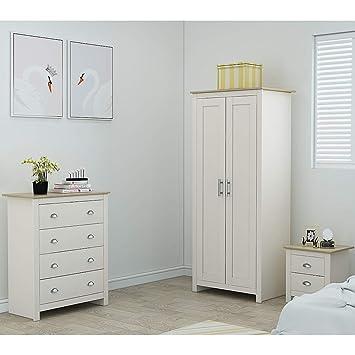 Traditional Shaker Style Bedroom Furniture Soft Grey /& Light Oak Westbury 2 Drawer Bedside Table Chest