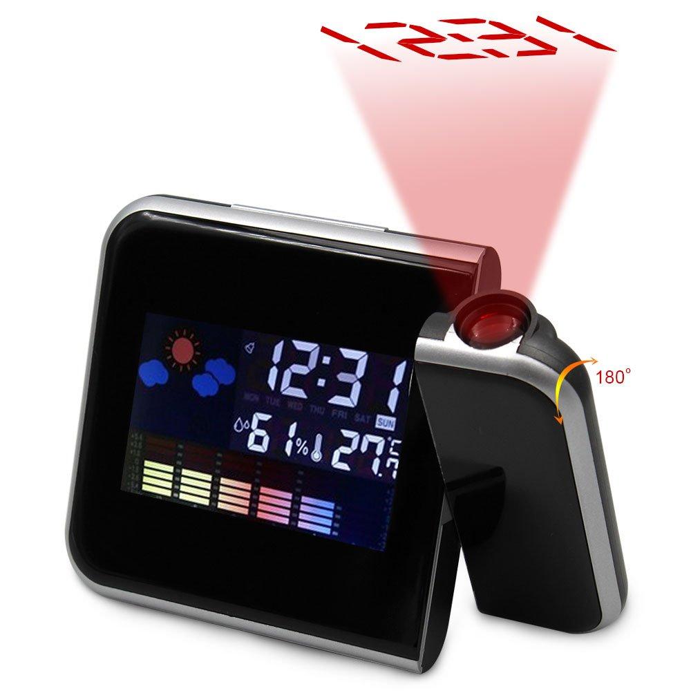 Rotazione proiezione Sveglia digitale con retroilluminazione a LED e display Snooze Temperatura / giorno / data / igrometro / umidità 12 ore e 24 ore (Black) ruixin