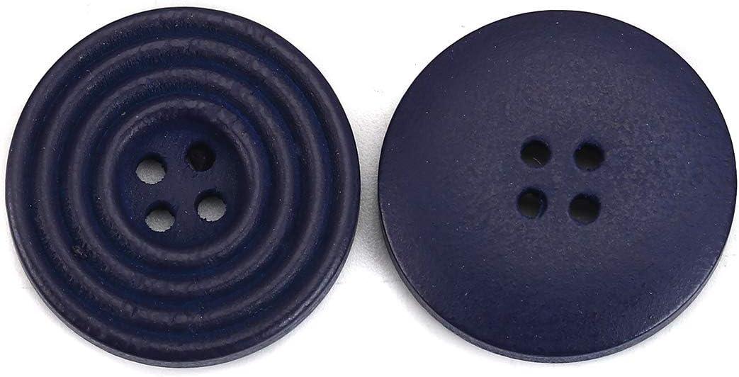 azul oscuro 4 agujeros I para coser 30 botones redondos de madera para scrapbooking c/írculo 25 mm SiAura Material manualidades y decoraci/ón