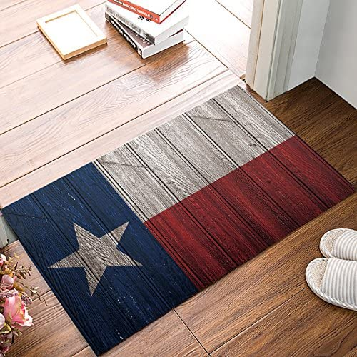 EZON-CH Doormat Texas Flag Wood Board Modern Non Slip Bathroom Mat Toilet Geometry Floor Rug Tea Mat Table Mat Carpet Pad 18IN X 30IN