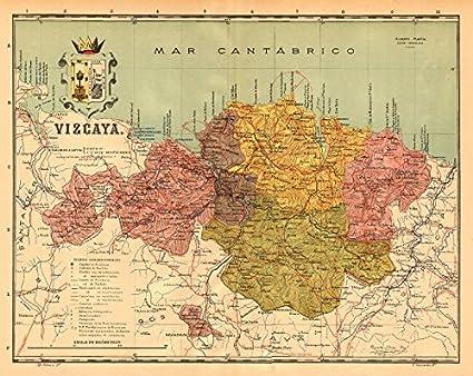Biscay BIZKAIA VIZCAYA Bilbao Bilbo Euskadi Mapa antiguo Provincia. Martin - c1911 - Mapa antiguo vintage - Mapas impresos de España: Amazon.es: Hogar