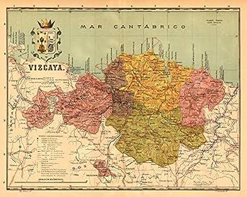 Biscay Bizkaia Vizcaya Bilbao Bilbo Euskadi Mapa Antiguo Provincia