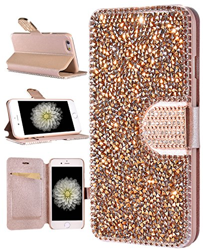 iPhone SE Wallet Case, FLYEE Handcraft Luxury Bling Rhinestone Wallet Case Ultrathin Magnetic Kickstand Crystal Leather Book Cover for Apple iPhone 5/5s//SE 4.0 Inch (Magic Rose gold) (Iphone 4 Cases Crystal compare prices)