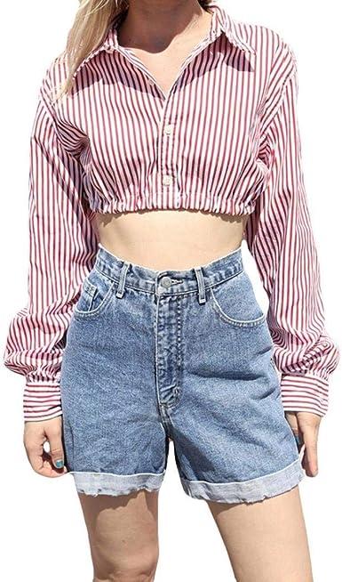 Camisa Corta Sexy Camisa De Manga Larga con Cuello Clásico En V Camisa Abierta De Verano