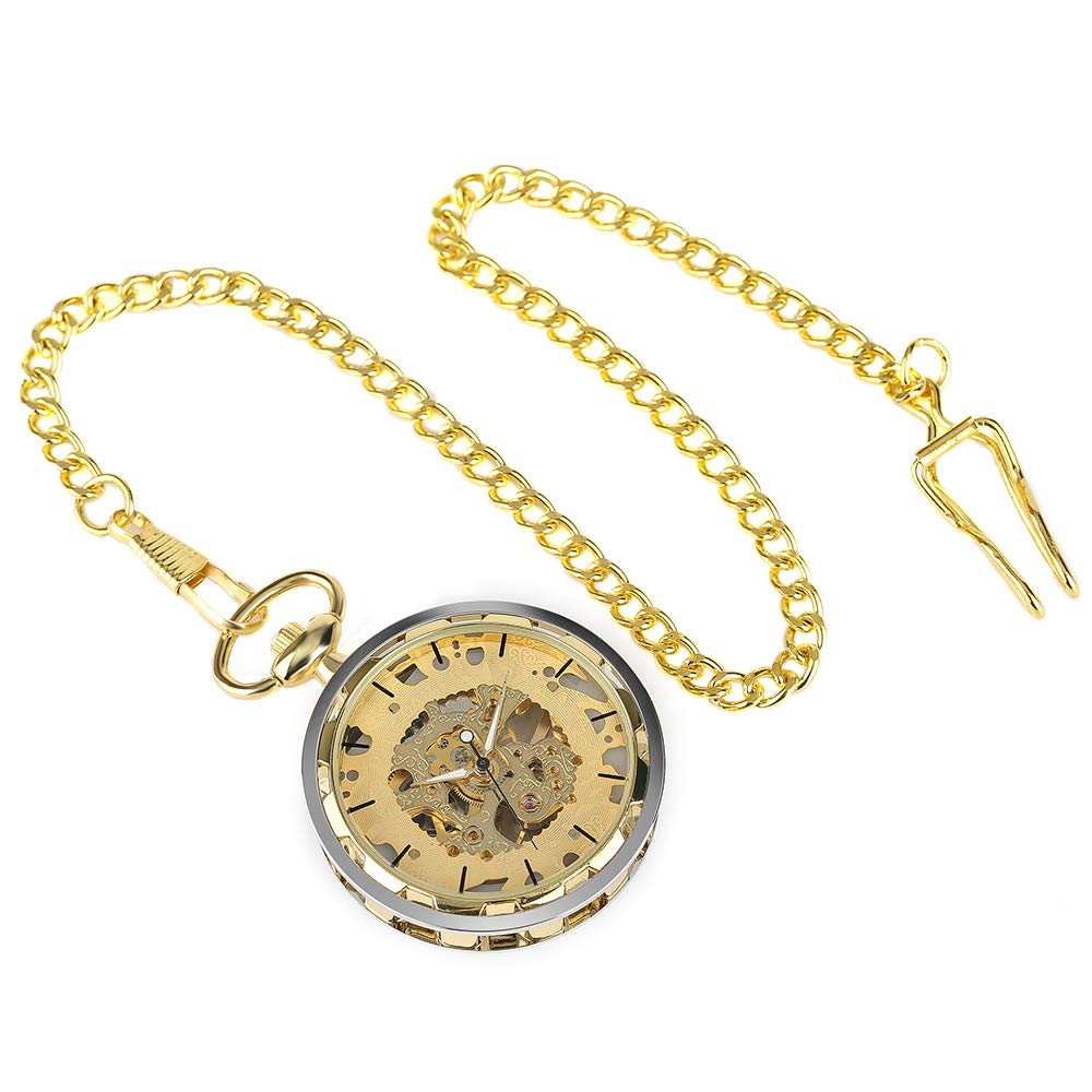 Luxury Pocket Watch Skeleton Steampunk Mechanical Hand Wind Pocket Watch, Best Gift for Men by UP Dream (Image #3)
