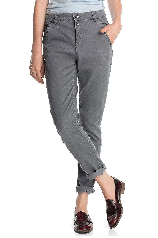 b2275efafb52 ESPRIT Women's Aus Baumwoll-Stretch-Mix Boyfriend Trousers, Grey ...