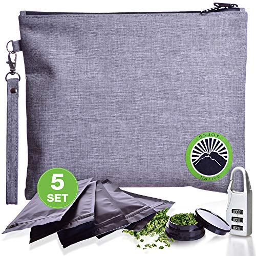 Enjoy Native Smell Proof Bag with Lock – Odor Proof Bag – Dog Tested Bags – Best Odor Proof Pouch Zipper on Top Smell Proof Case for Herbs Coffee Tea Oils 5 Sealed Baggies – Smell Proof Container