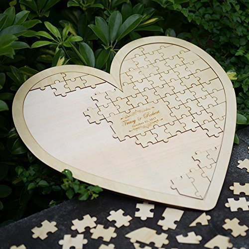 Custom Wooden Puzzle Heart Guestbook Personalized Wedding Guest Book Alternative MS007