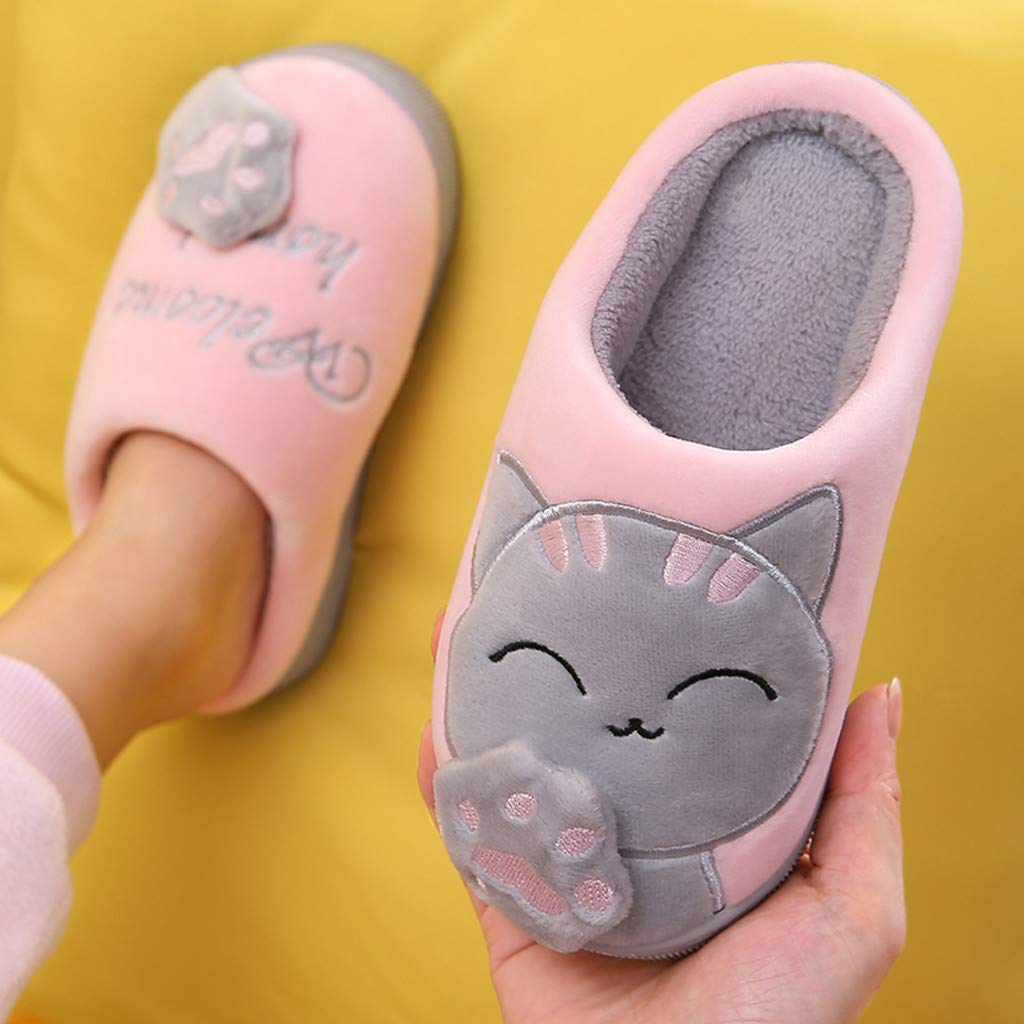 Kids Baby Boys Girls Winter Slippers Cartoon Cat Non-Slip Home Indoors Shoes Baby Shoes Booties Boots Sport Shoes Cotton Boots Sneakers for 5-14 Year Old Children Cute Slippers