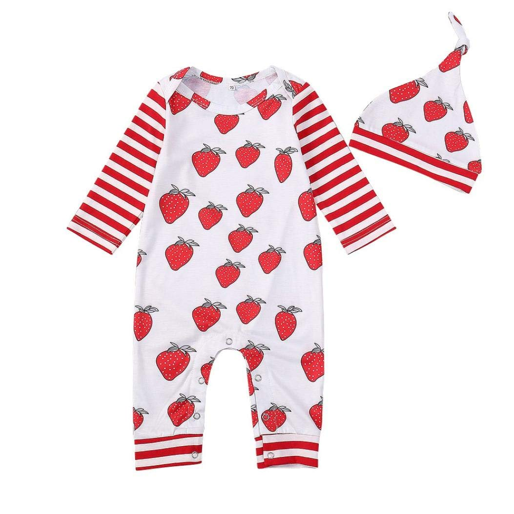 Xshuai ® Newborn Baby Strawberry Striped Print Long Sleeve Romper Jumpsuit+Hat Set Pajama Clothes