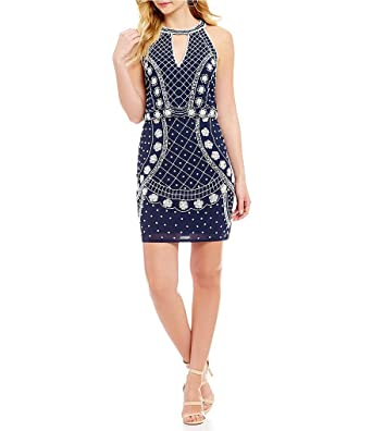 b78dfb43db Image Unavailable. Image not available for. Color  Gianni Bini Renee Floral  Beaded Popover Dress Navy Size 6