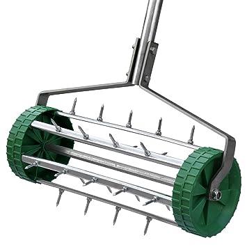 Grass Rolling Lawn Garden Aerator Spike Roller Green Drum Wheel