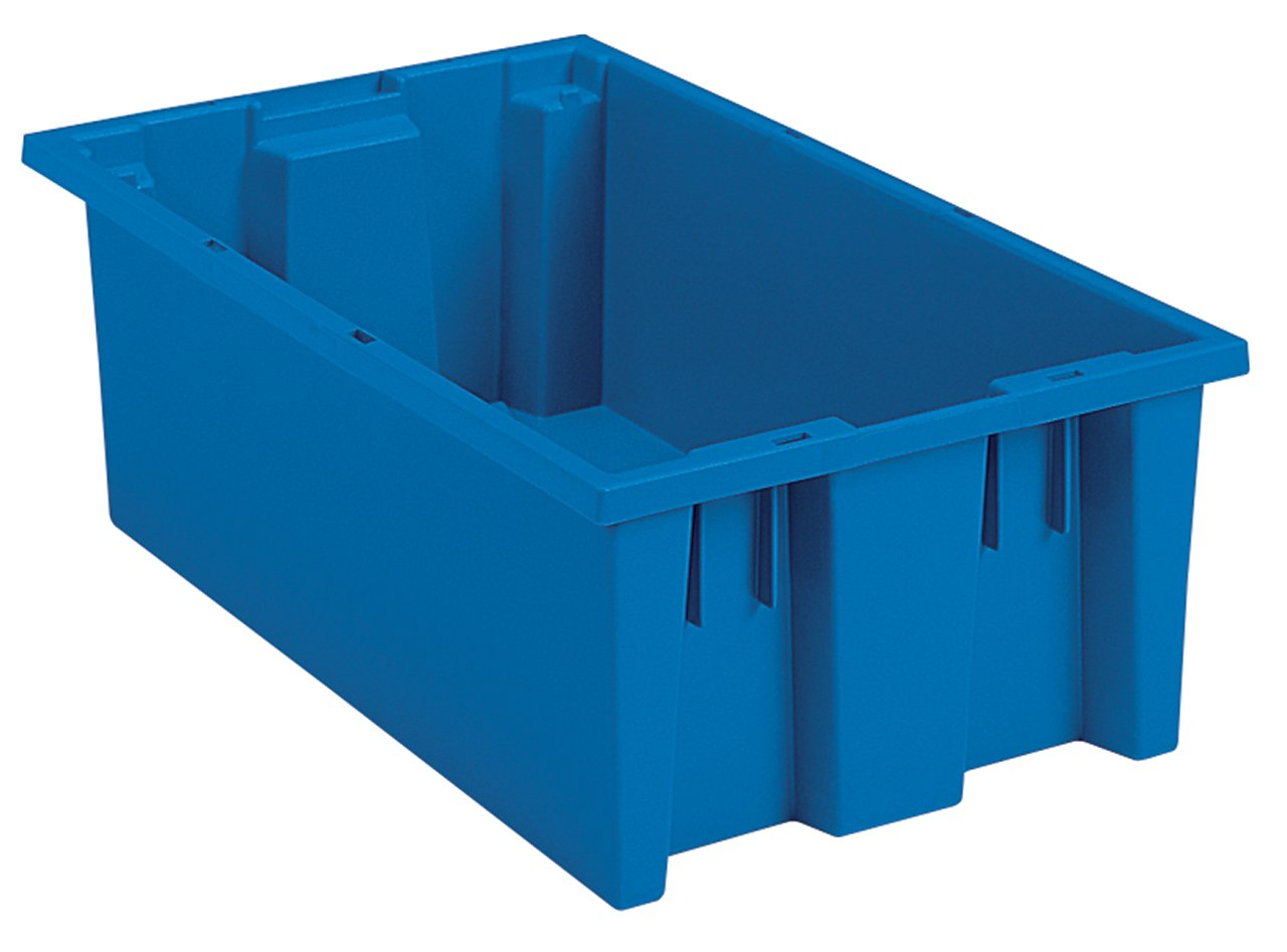 Blue Case of 6 18-Inch L by 11-Inch W by 9-Inch H Akro-Mils 35185 Nest and Stack Plastic Storage and Distribution Tote