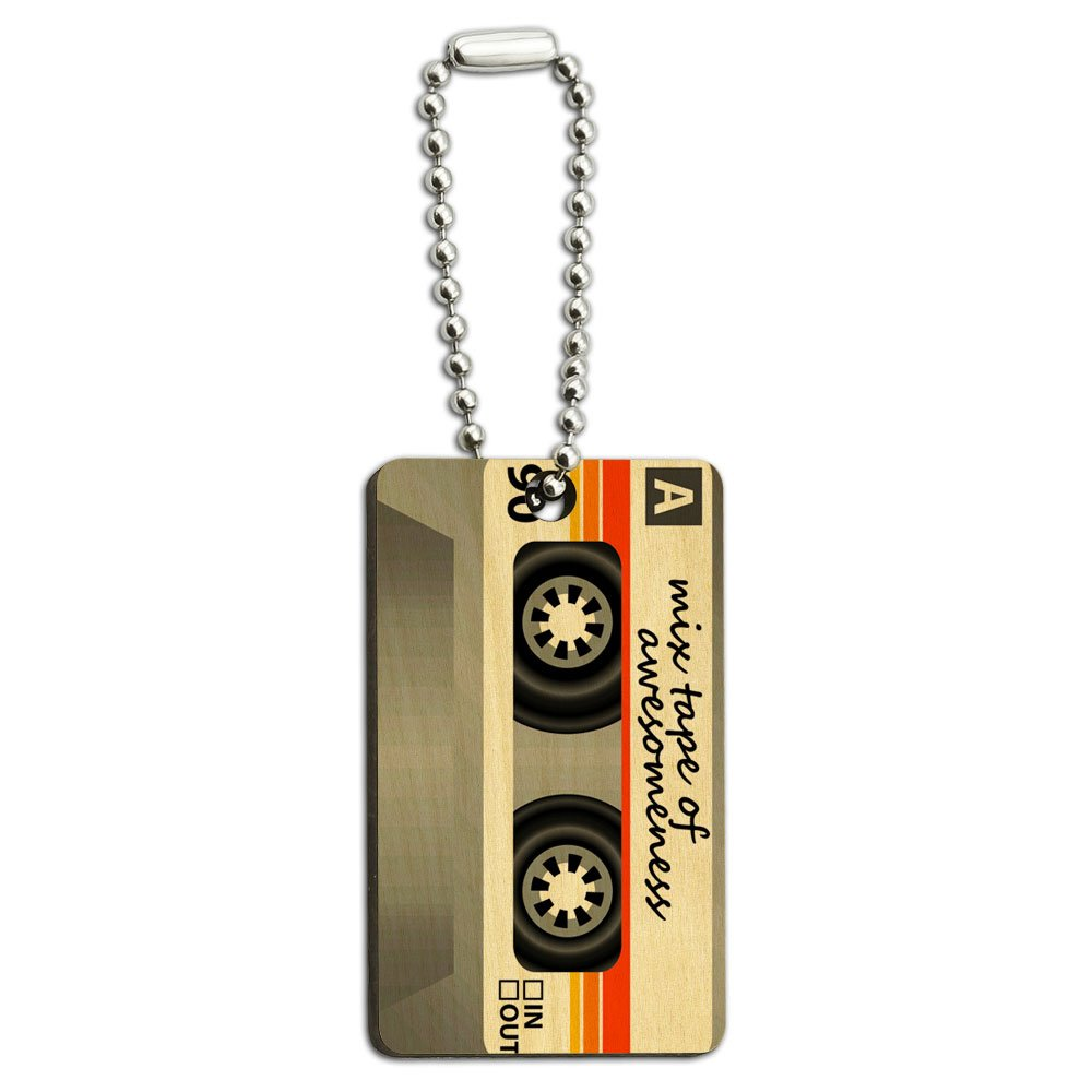 Mix Cassette Tape of Awesomeness Wood Wooden Rectangle Key Chain