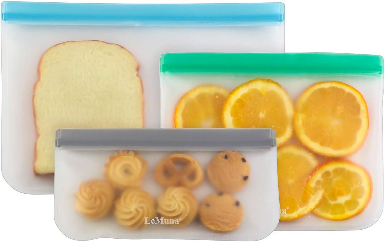 LeMuna 3 Pack Reusable Silicone Food Storage Bags (Gallon Freezer Bags, Reusable Sandwich Bag, Reusable Snack Bags), Food Grade Reusable Freezer Bags BPA Free, PEVA Leakproof Reusable Lunch Bags