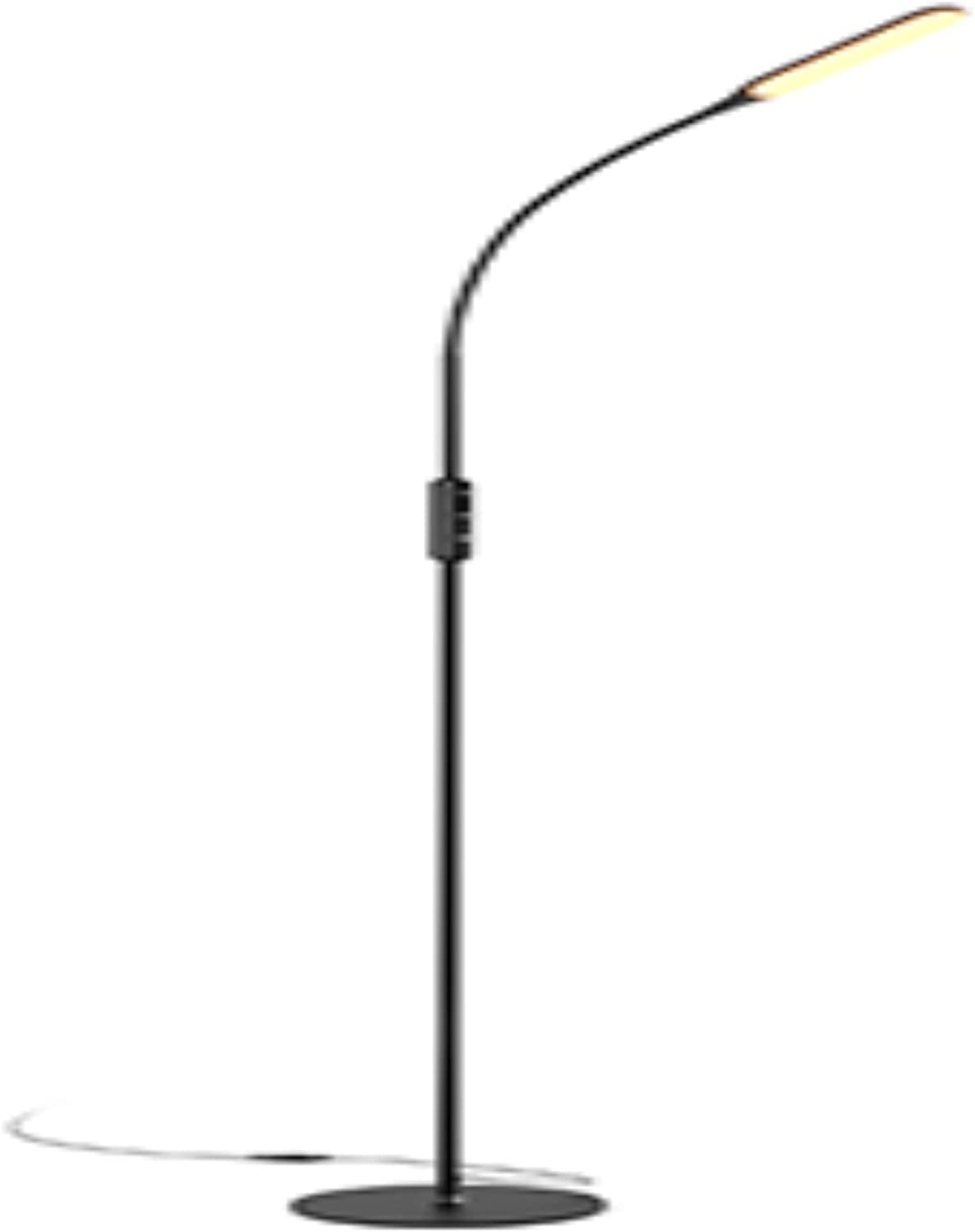 Black LED Floor Lamp with 5 Brightness Levels & 3 Colors, Gladle Bright Standing Lamps for Living Room Bedroom Office Crafting Task, Tall Reading Light with Flexible Gooseneck, Works with Smart Plug