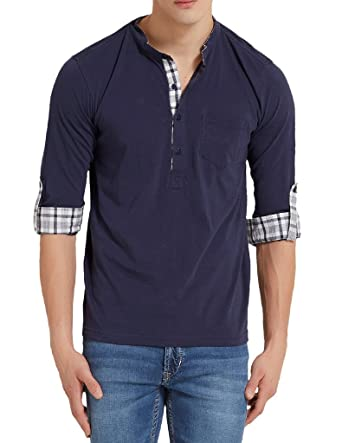 Elaborado Men's Henley Neck Tshirt - Navy Polos at amazon