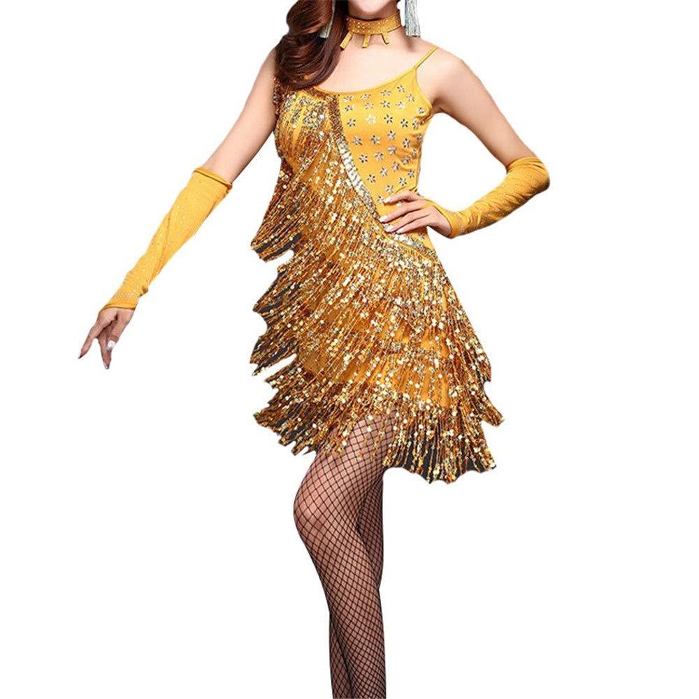 Or XL Robes de danse latine pour femmes Femmes Sans Manches Sequin Gland Robe De Danse Latine Outfit Perlée Frange Flapper Robe De Cocktail Lady Salle De Bal Parti Scène De Perforhommece Costumes Dancewear