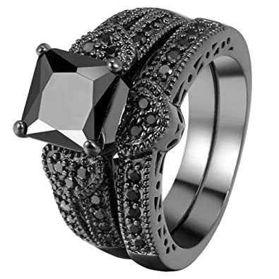Fendina Womens Vintage Luxurious Black Gold Plated Wedding Engagement Rings Nano Cubic Zirconia Anniversary Promise Rings Set
