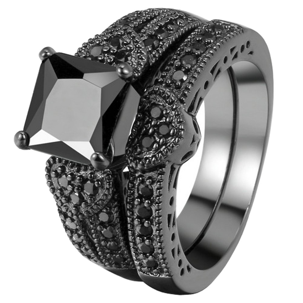 FENDINA Womens Vintage Luxurious Black Gold Plated Wedding Engagement Rings Nano Cubic Zirconia Anniversary Promise Rings Set, Size 7