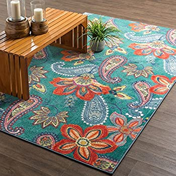 Mohawk Home New Wave Whinston Paisley Floral Contemporary Area Rug, 6 x 9, Multicolor