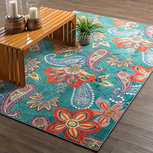 (Mohawk Home New Wave Whinston Paisley Floral Contemporary Area Rug, 5'x8', Multicolor)