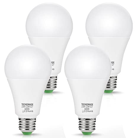 4 bombillas LED E27 de 23 W A65, 2500 lúmenes, equivalente a 200 W