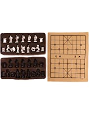 Blesiya Vintage Chinese Traditional Chess W/ Folding Chessboard Set Chess Game