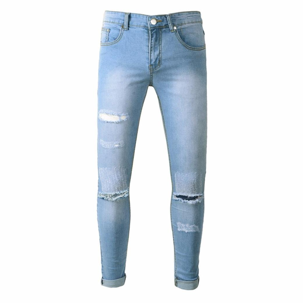 Men Fashion Jeans Drawstring Tight Cuffs Vintage Comfy Denim Pant by Andsome (32, blue)