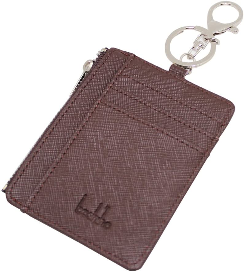 Boshiho pelle Saffiano badge Holder ID card con monete portamonete 4.3 x 3.3 x 0.2 inch Black