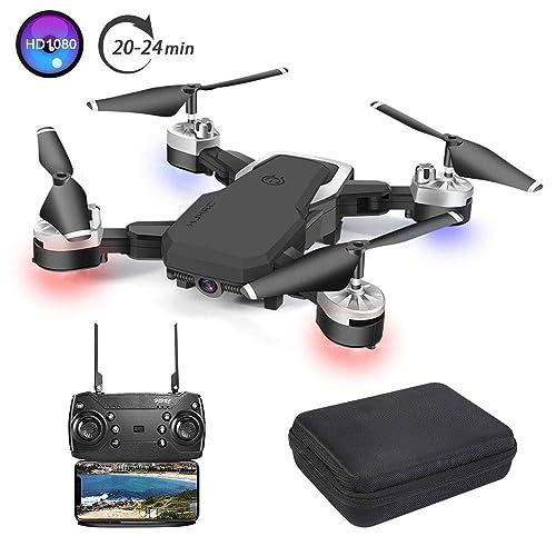 3T6B Drone Plegable Cámara 1080P HD 5 megapíxeles Avión WiFi FPV por Control Remoto Cuadricóptero con 3 Modos de Velocidad Altitud Hold Modo sin Cabeza