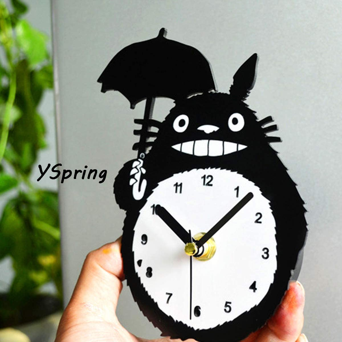 YSpring Fashion Anime Totoro Fridge Clock Cute Design Refrigerator Magnetic Wall Clocks(battery is not included)