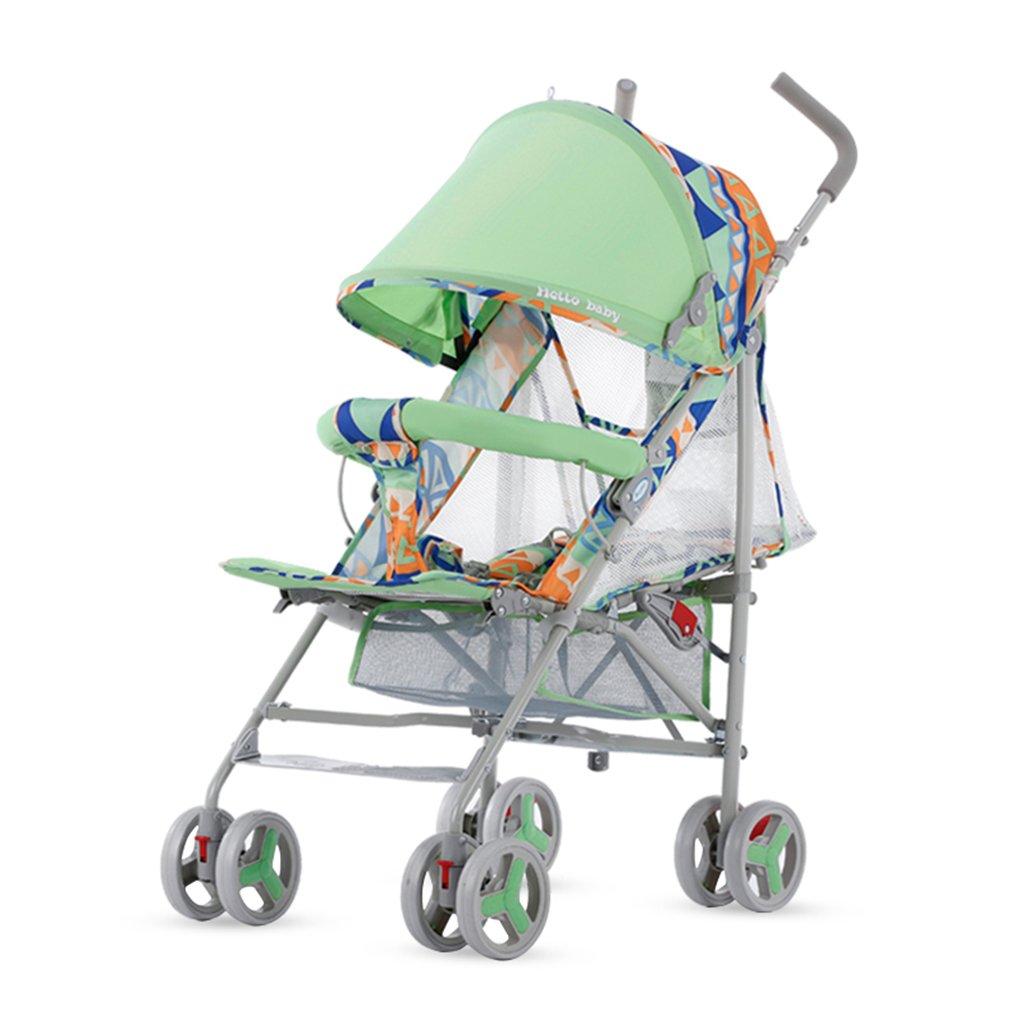 HAIZHEN マウンテンバイク ベビーカート5点シートベルト軽量Foldableは、子供のトロリーを座って/嘘つくことができますフルネットワーク換気調節可能な日除け蚊帳とショッピングバスケットカーボンスチールフレームEVAフォームショックアブソーバーホイールベビーキャリッジ38 * 61 * 102cm 新生児 B07DL7FQSP Green-1 Green-1