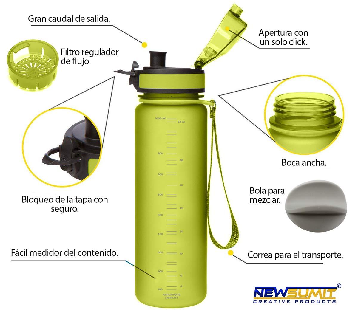 NEWSUMIT Botella De Agua Deportiva Superior Deporte Gimnasio Todo Uso Hogar Oficina. BPA Free Tritan