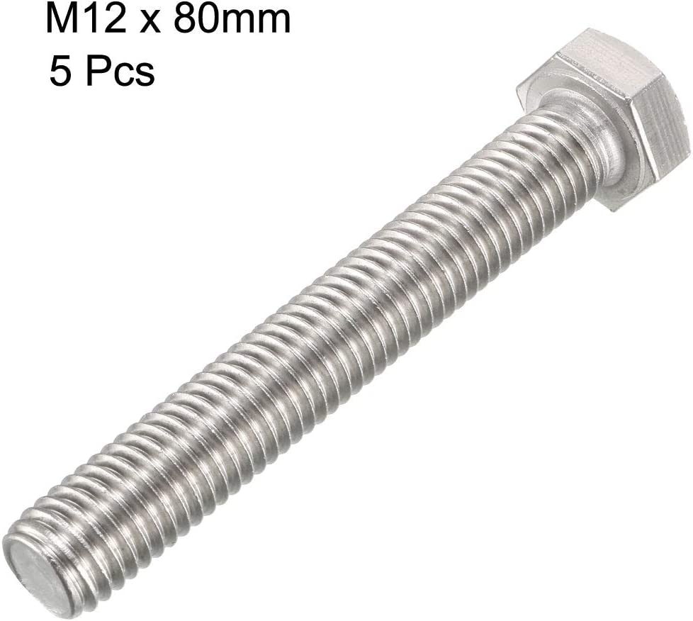 Tornillo hexagonal M12 M12-1,75 x 20 mm UNC de cabeza hexagonal A2-70 304 Sourcingmap