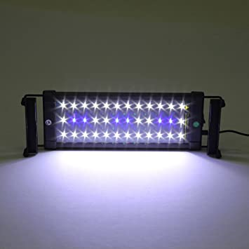 Lámpara acuario, luces para acuarios y estanques, 300 lúmens 30-50cm 36LED, Color de luz blanco y azul, con enchufe EU-Simbr
