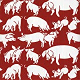 Entertaining with Caspari Oink Paper Cocktail Napkins, Red, Pack of 20