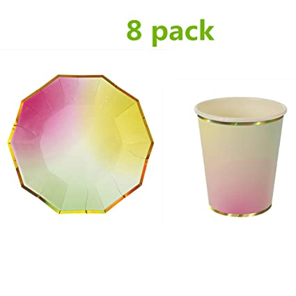 Prokth Juego De 8 Vasos De Papel Desechables Brillantes Platos De