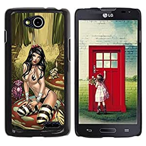 YOYOYO Smartphone Protección Defender Duro Negro Funda Imagen Diseño Carcasa Tapa Case Skin Cover Para LG OPTIMUS L90 D415 - mujer sexy medias de lencería Alice
