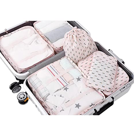 b2c547dcf746 PROMUN Travel Packing Cubes, 6 Set Luggage Organizer with Laundry Bag,  Luggage Compression Pouches, Waterproof (Pink)